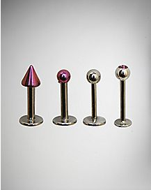 Purple Cone Labret Lip Ring 4 Pack -16 Gauge