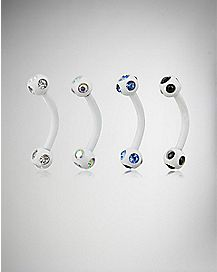 White Cz Eyebrow Ring 4 Pack - 16 Gauge