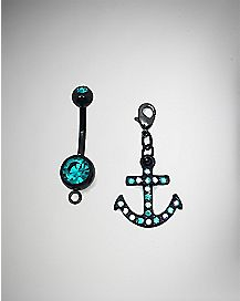 Teal Anchor Charmed Dangle Belly Ring 2 Pack - 14 Gauge