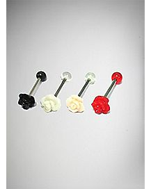 Multicolored Tongue Ring 4 Pack - 14 Gauge