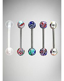 14 Gauge Abstract Paint Barbell 5 Pack - 14 Gauge