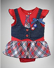 Plaid Red White Blue Vest Baby Dress