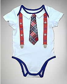 Red White Blue Tie Suspender Baby Bodysuit
