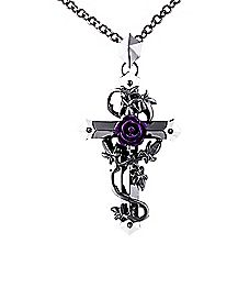 Purple Rose on Cross Necklace