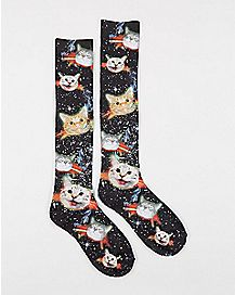 Sublimated Smoking Cat Knee High Socks
