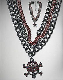 Skull Chain Choker Necklace