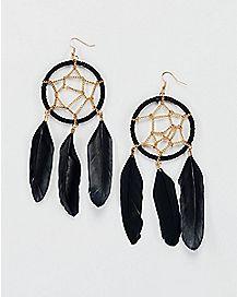 Black Dream Catcher Earrings