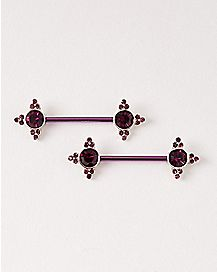 Purple Cluster Gems Barbell Nipple Ring - 14 Gauge