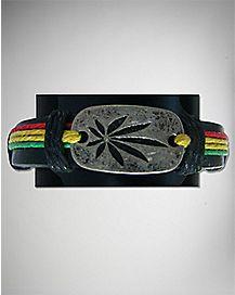 Rasta Leaf Plate Bracelet