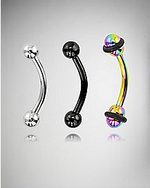 Colored Curved Barbell 3 Pack - 16 Gauge