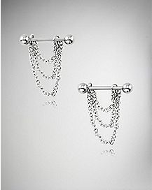 3 Chain Dangle Barbell Nipple Rings - 14 Gauge