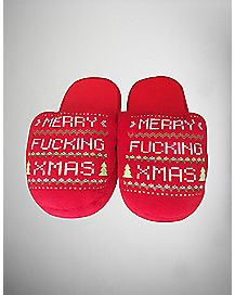 Merry Fucking Xmas Slippers