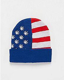 American Flag Pot Leaf Beanie
