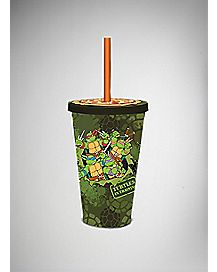 Pizza Lid TMNT Cup with Straw