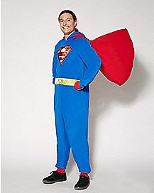 Superman Dropseat Hooded One-Piece Pajamas