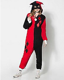 Adult Hooded Dropseat Harley Quinn One-Piece Pajamas