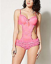 Lace Ruffle Teddy- Pink
