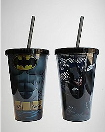 Batman DC Comics Cup with Straw- 16 oz 2 Pack