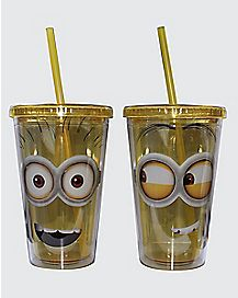 Minions Cup with Straw 16 oz 2 Pack