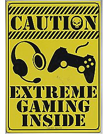 Caution Extreme Gaming Metal Sign