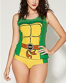 Shell Mesh Tank Top and Panties Set - TMNT
