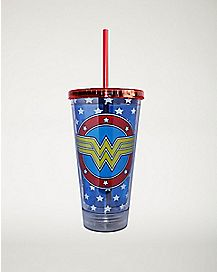 LED Logo DC Comics Wonder Woman Cup with Straw - 16 oz.