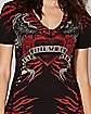 Red and Black Winged Sidebraid Rebel Saints Tee