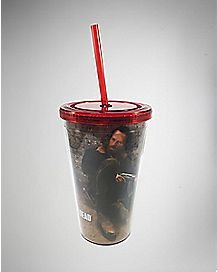 Foil Embossed Rick The Walking Dead Cup with Straw - 16 oz.
