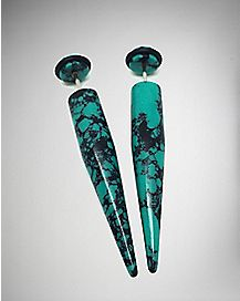 Blue Opal Stone-Effect Fake Stretcher Taper 2 Pack - 18 Gauge