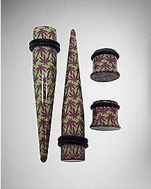 Green & Purple Pot Leaf Plug & Stretcher Taper 4 Pack