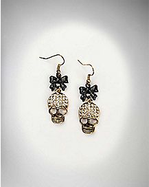 Skull With Bows Earrings