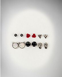 Skull Rose Heart Earring 6 Pack