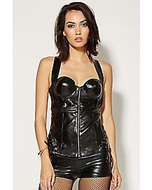 Front Zip Up Side Tie Corset