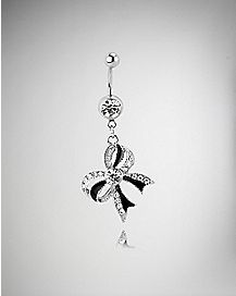 Cz Bow Dangle Belly Ring - 14 Gauge