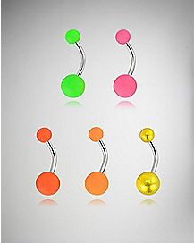Multicolor Neon Barbell Belly Ring 5 Pack - 14 Gauge