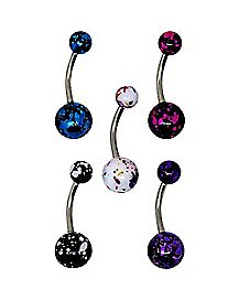 Colored Splatter Belly Ring 5 Pack - 14 Gauge
