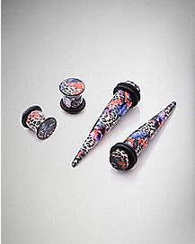 Leopard Flower Plug & Stretcher Taper Plug 4 Pack