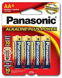Panasonic 4 Pack AA Alkaline Batteries