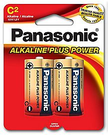 Panasonic 2 Pack C Alkaline Batteries