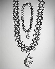 Moon Star Tattoo Choker Necklace