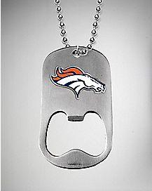 NFL Denver Broncos Bottle Opener Dog Tag Necklace