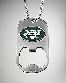 NFL New York Jets Bottle Opener Dog Tag Necklace