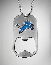 NFL Detroit Lions Bottle Opener Dog Tag Necklace