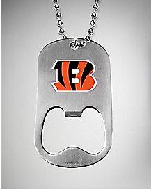 NFL Cincinnati Bengals Bottle Opener Dog Tag Necklace