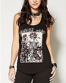 Rose Skull Grateful Dead Racerback Tank Top