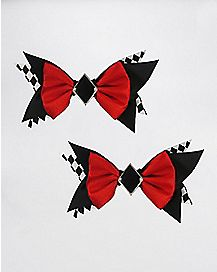 Red and Black Jester Hair Bow 2 Pack