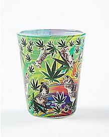 Cats and Pot Leaf Shot Glass 1.5 oz