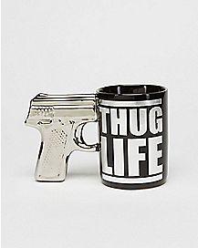 Gun Handle Thug Life Coffee Mug  18 oz
