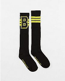Athletic Stripe Varsity Batman Knee High Socks