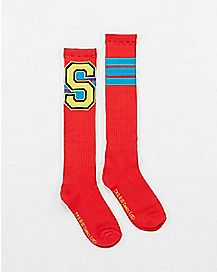 Athletic Stripe Varsity Superman Knee High Socks
